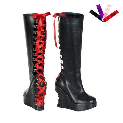 #NewYear #East Coast Fashions - #Demonia Bravo-106 Corseted D-Ring Wedge Platform Boots - AdoreWe.com