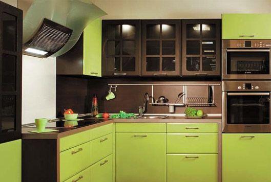 кухни зеленые с коричневым