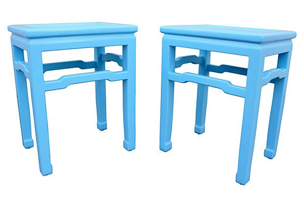 Blue Lacquered Baker End Tables, Pair On OneKingsLane.com