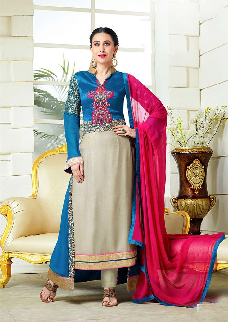 Karisma Kapoor Gray Faux Georgette Bollywood Suit 63809