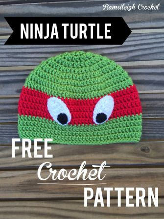 Ninja turtle hat FREE PATTERN! Ramsileigh Crochet
