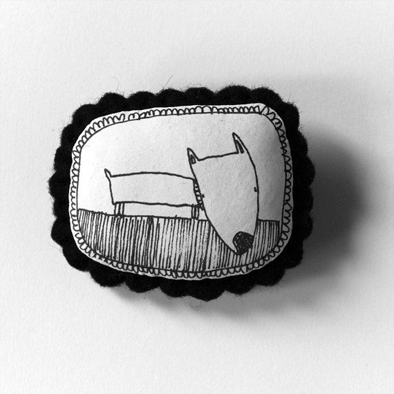 Dog - b handcrafted and illustrated brooch felt. via Etsy.