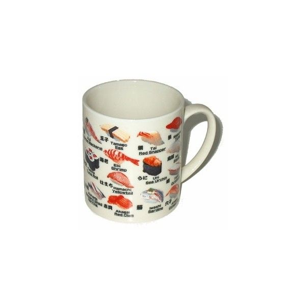 Delicious Sushi Mug ($8.98) ❤ liked on Polyvore featuring home, kitchen & dining, drinkware, fillers, food, cups, decoration, tea set, tea mug and tea cups