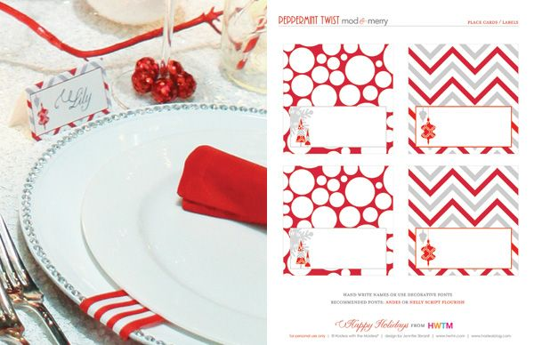 FREE Holiday Printables: Peppermint Twist    table cards? There's card stock at the office and then we can write on the names