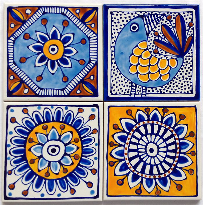 Hand Painted Ceramic Tile Coasters Mediterranean Inspired Design Jocelyn Proust Designs Madeit