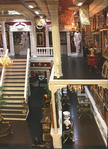 """Galleries on the right hand side of """"My Private Museum"""" roombox in 1:12 dollhouse scale by Ken Heseltine."""