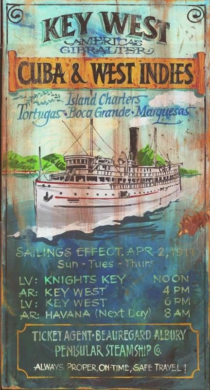 Key West Charters   Vintage Beach Sign