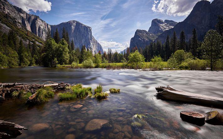 Descargar fondos de pantalla El Parque Nacional de Yosemite, en estados unidos, el verano, el Valle de Yosemite, Sierra Nevada, las montañas, California, estados UNIDOS