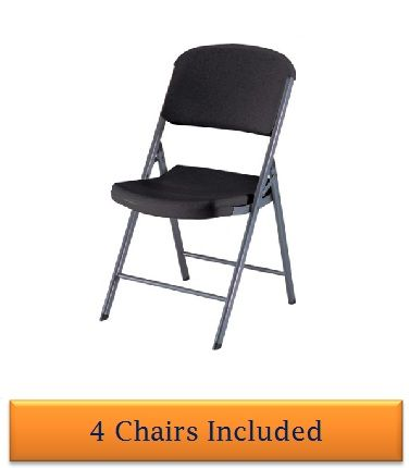 lifetime folding chairs black colored seat and back 4 pack