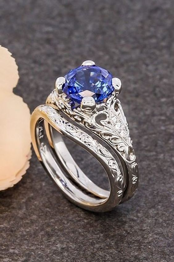 24 Vintage Wedding Rings For Brides Who Love Classic vintage wedding rings white gold round cut sapphire More on the blog: ohsoperfectpropos... #engagementrings #weddingringsforbride #vintagerings