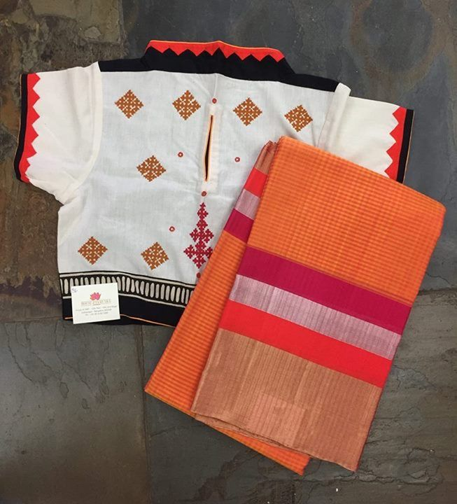 Lovely hand loom saree with blouse that matches it beautiful