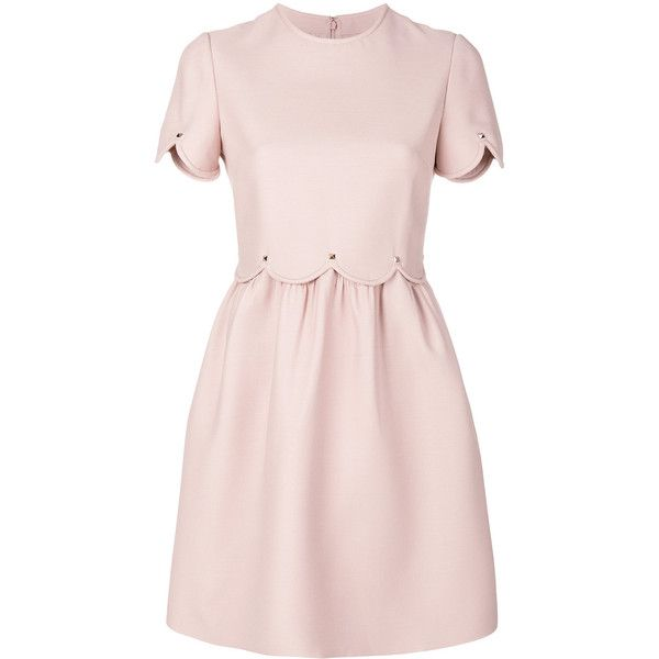 Valentino Short Sleeves Dress (€2.185) ❤ liked on Polyvore featuring dresses, pink, scallop trim dress, pink short sleeve dress, short-sleeve dresses, pink dress and pink scalloped dress