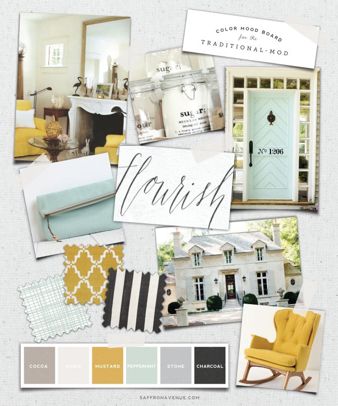 Mood Board :: Mint Mustard for the Traditional-Mod :: Saffron Avenue