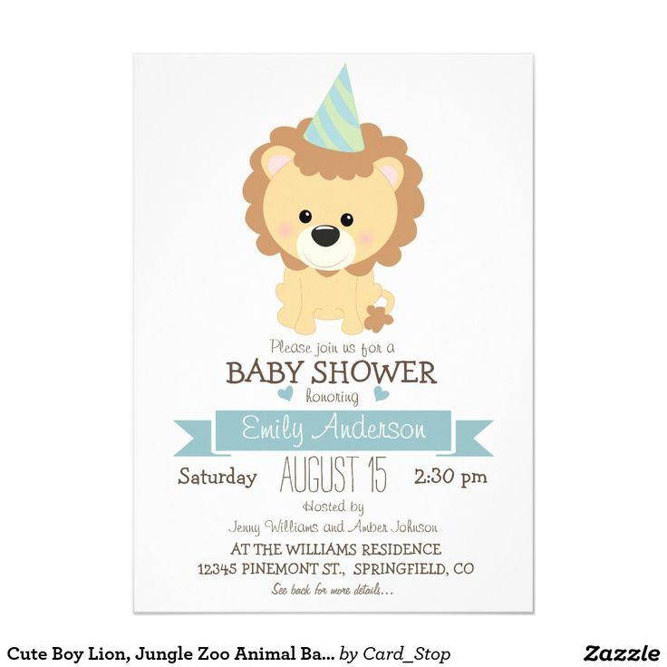 Lejon gullig pojke, baby shower för djungelZoodjur 12,7 X 17,8 Cm Inbjudningskort