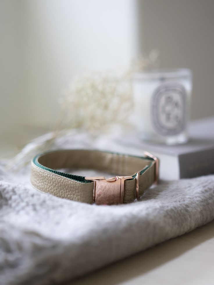 A metallic bronze faux leather vegan collar paired with rose gold hardware by Darling Dear Co.  Shop: www.darlingdearco.etsy.com  Photo Credit: Arden Pang