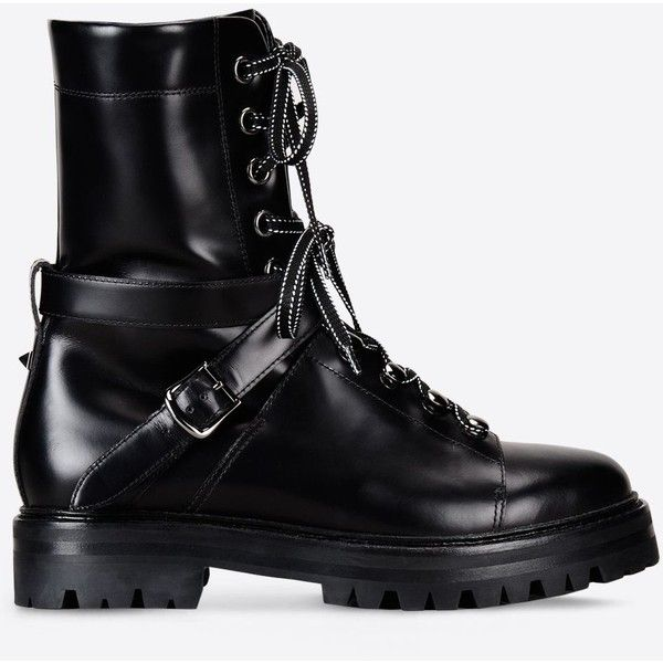 Valentino Garavani Rockstud Combat Boot found on Polyvore featuring shoes, boots, ankle booties, black, boots/booties, combat boots, black lace up boots, black buckle booties, studded booties and black combat boots