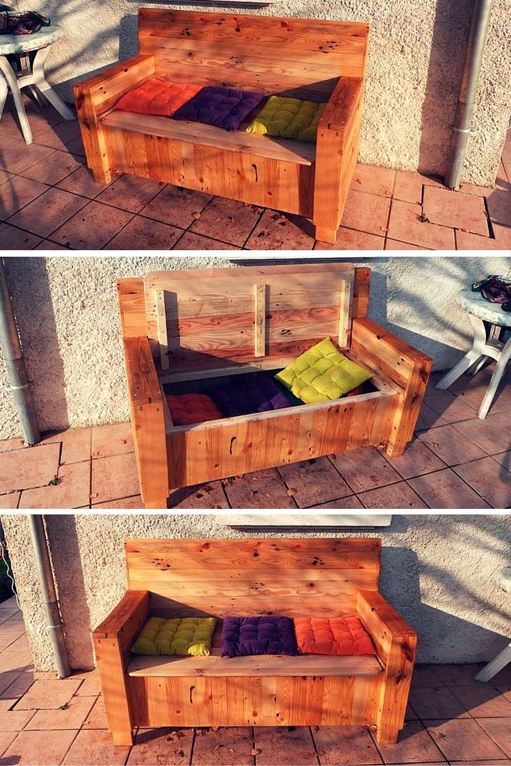 Pallet #Sofa with Built-in Storage Space - 101 Pallet Ideas