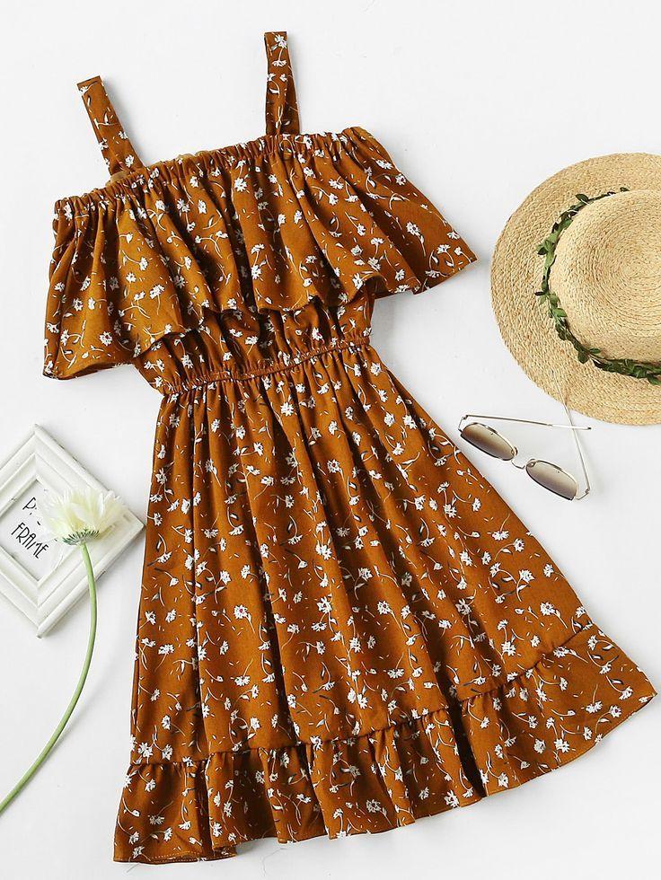 Kaufen Sie Calico Print Rüschen Blouson A Line Dress online. SheIn bietet Calic…