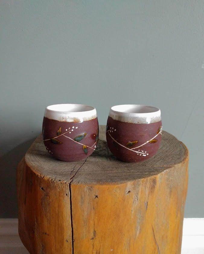 vintage glazed ceramic tea cups in brown by BetaGoods on Etsy     #tea #mugs #cups #ceramic #handmade #glazed #leaf #brown #white #set #teaset #japan #japanese #etsy #vintage