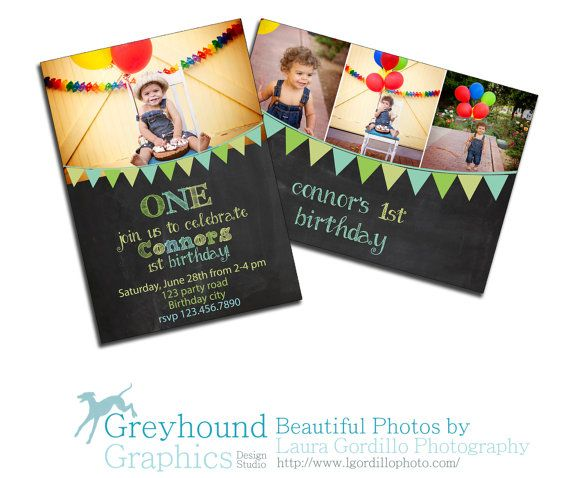 Chalkboard First Birthday Invite Card 1st By GreyhoundGraphics 1200