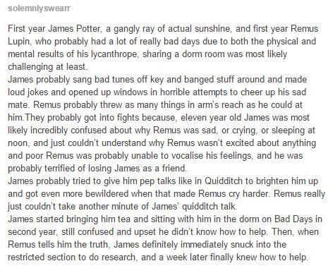 Awh so sweet, except James (and Sirius and Pettigrew) found out about Remus…