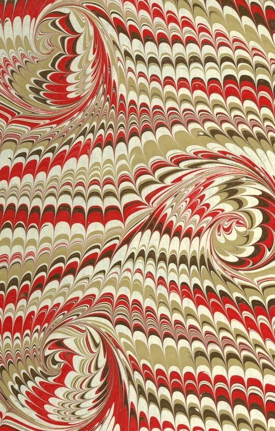 Modern 20th c. marbled paper, French curl on Wide comb pattern: