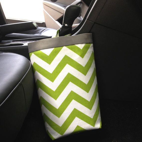 Car Trash Bag CHEVRON LIME GREEN Women Men Litter Auto