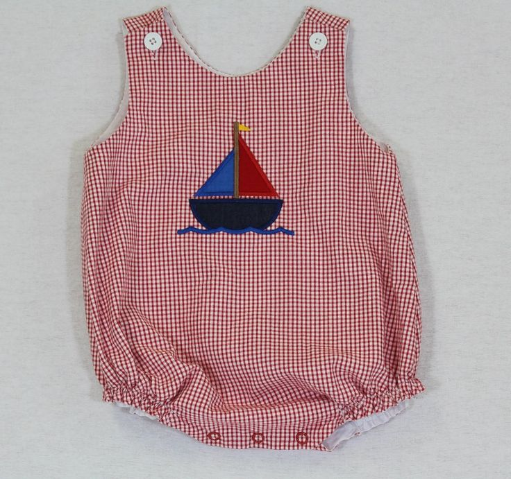 Baby Boy Bubble Romper Size 3 mo. thru 24 mo. Red by jamiesmomma, $32.99