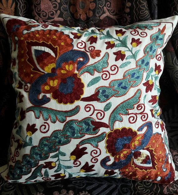 Hand Embroidered Suzani Pillow by SuzaniUzbekistan on Etsy