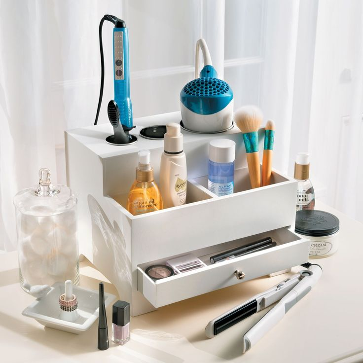 a great small space bathroom solution our hair styler organizer has a place for all