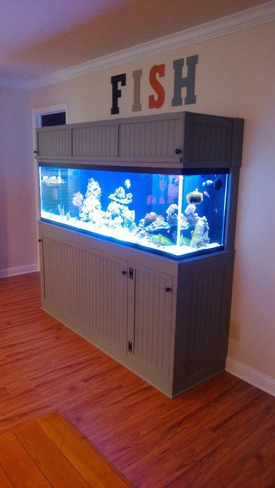 """Custom made fish tank by Jenna's Farmhouse Designs stand to compliment our farmhouse style. Painted it """"schoolhouse slate"""" by Martha Stewart and added some colorful lettering above to spell out """"fish"""" to give it some personality and fun!"""