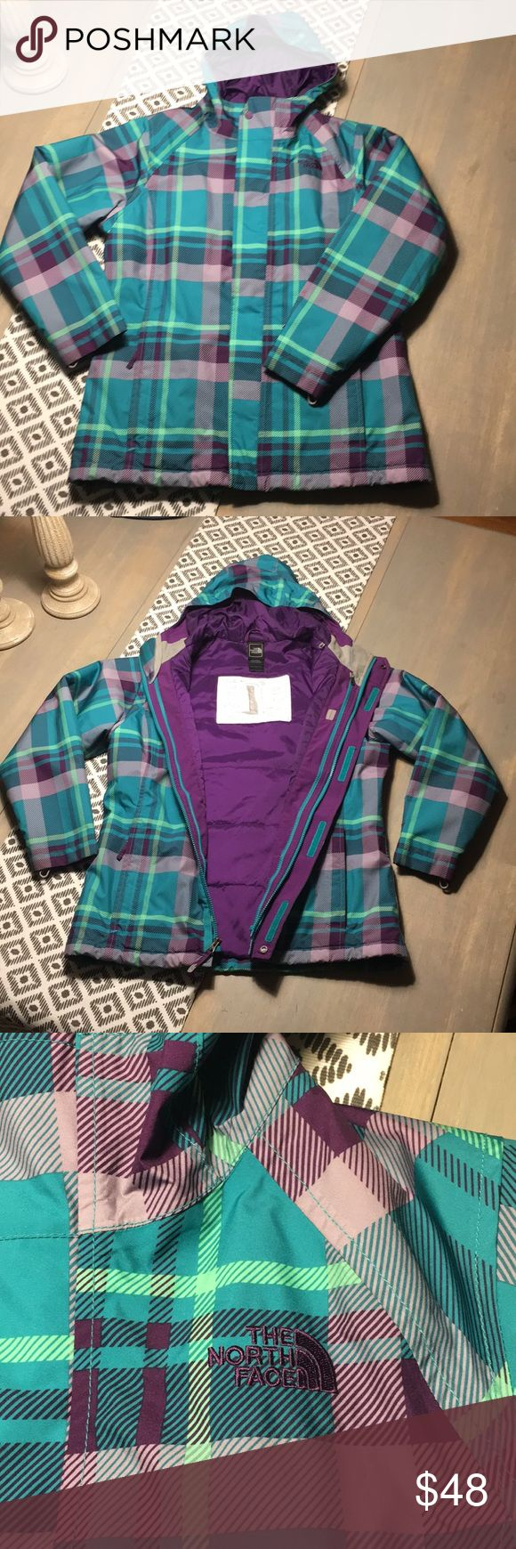 North Face Triclimate Jacket - EUC - XL Girls/XS W Excellent used condition North Face Jacket - size XL girls or a XS Women. Beautiful and vibrant colors distributed on a charming plaid print. Nice and warm but not heavy, this jacket is perfect for the cold weather! Comes from a smoke and pet free home! North Face Jackets & Coats Puffers