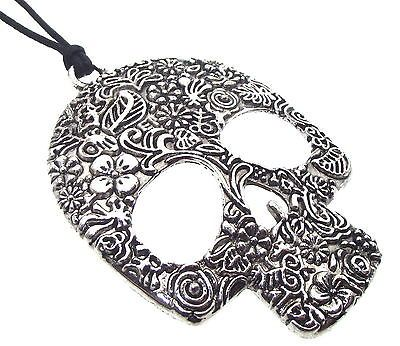 Large Ornate Day of The Dead Sugar Candy Skull Pendant | eBay