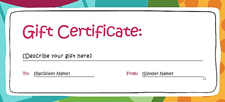 Screenshot of a Basic Multicolored Gift Certificate Template for Word