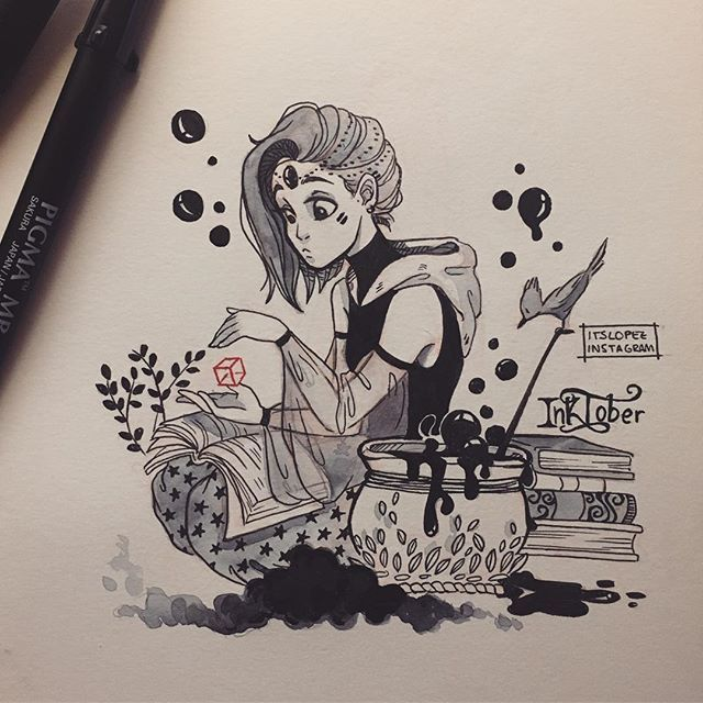 #Inktober Day 3: Merchant/Vagabond Witch Not quite sure if this could be a merchant witch lmao but I like the way it came out anyway #31witches