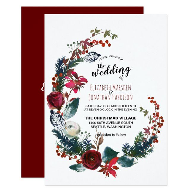 Christmas wedding picture invitations