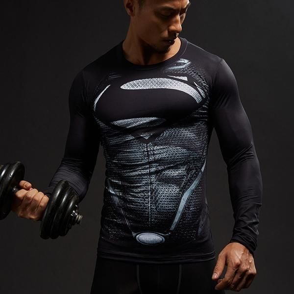 Superman Cool Black Superman 3D Printed Long Sleeve Shirt