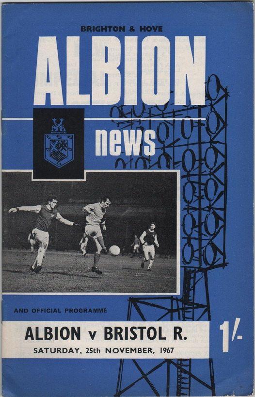 Vintage Football Programme - Brighton & Hove Albion v Bristol Rovers, 1967/68 season