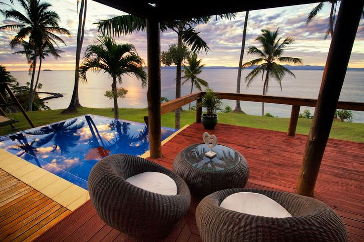 in Matei, Fiji. Lomani (meaning in love) is a romantic paradise for couples on an island  unaffected by time, void of worry and spoilt by beauty. Lomani is a private house offering total privacy on a cliff top with infinity pool, day beds and a million dollar vie...
