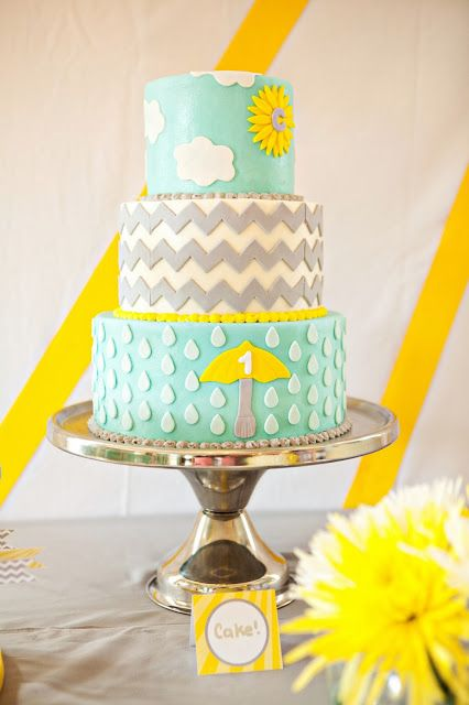 birthday party, baby shower, sunshine party, you are my sunshine, umbrellas, boy parties, girl parties, weather party, cakes, birthday cake, rain drops, chevron, buttercream