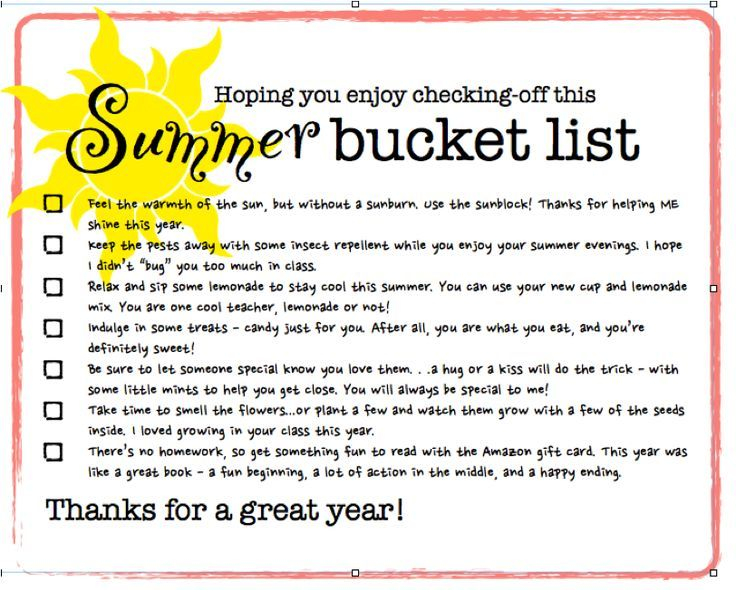 "summer bucket list for teachers | Summer Bucket List: teacher gift ""label"""