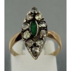 geel gouden markies ring met smaragd en op zilver gezet roos geslepen diamant