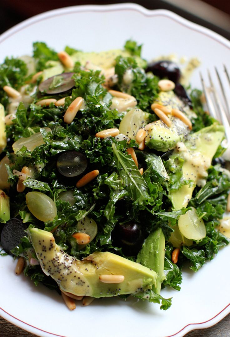 Massaged Kale Salad with Beats and Grapes with Poppyseed Dressing