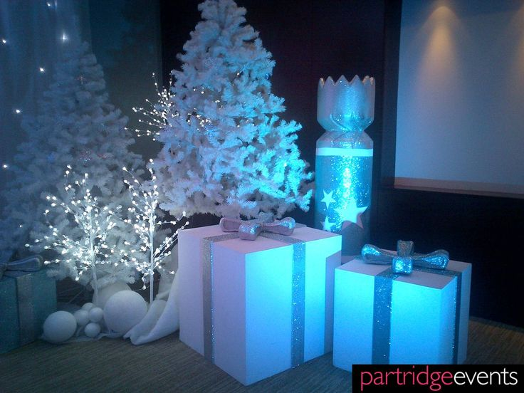 White Trees and Gift box props for a Narnia themed Christmas Grotto, by Partridge events