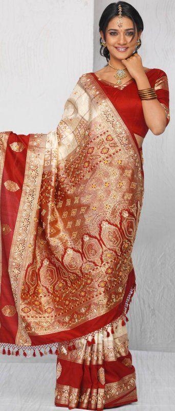 Maroon Brocade Silk Saree with Blouse