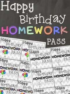 Nothing is better to get your students for their birthday then a Happy Birthday Homework Pass! Takes 1 minute to print off and the best part...it's FREE! Your students will love this!  Teaching with Bree: Happy Birthday Homework Pass
