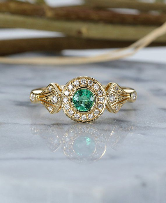 cdf428ddd1 Emerald Engagement Ring yellow Gold vintage round cut Art Deco Antique halo  diamond wedding ring j