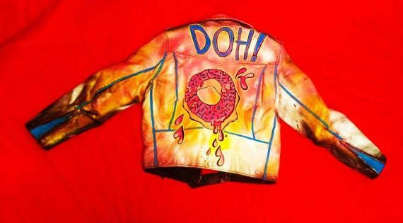 Hand Painted Leather Biker Jacket Doh Doughnut