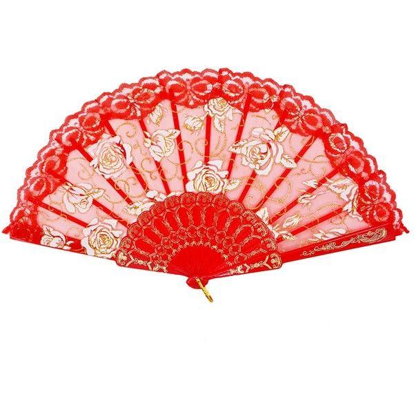 amajiji folding hand fansfashion elegant flower rose lace 785 hand fanshome decor accessorieselegant flowersred - Red Home Decor Accessories