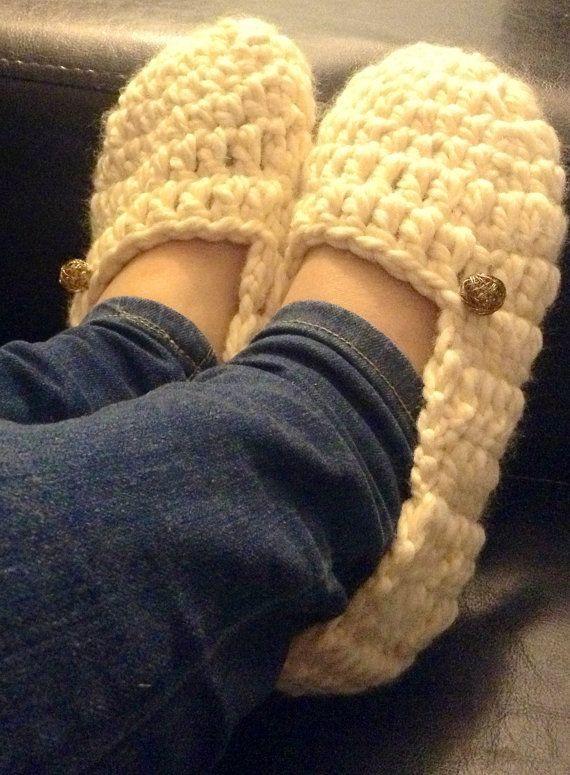 Beige Slippers , chunky slippers , crochet slippers , wool slippers on Etsy, $23.70
